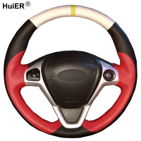 DIY Hand Sewing Car Steering Wheel Cover Suede Leather For Ford Fiesta 2008 2013 Ecosport 2013 2017 Braid on the Steering wheel