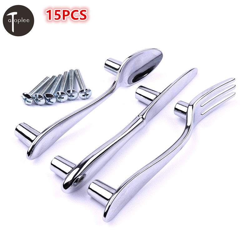 15Pcs/set Creative Furniture Zinc Alloy Spoon Knife Fork Kitchen Cabinet Closet Drawer Handle Pulls stainless steel table spoon knife fork teaspoon bakelite handle flatware