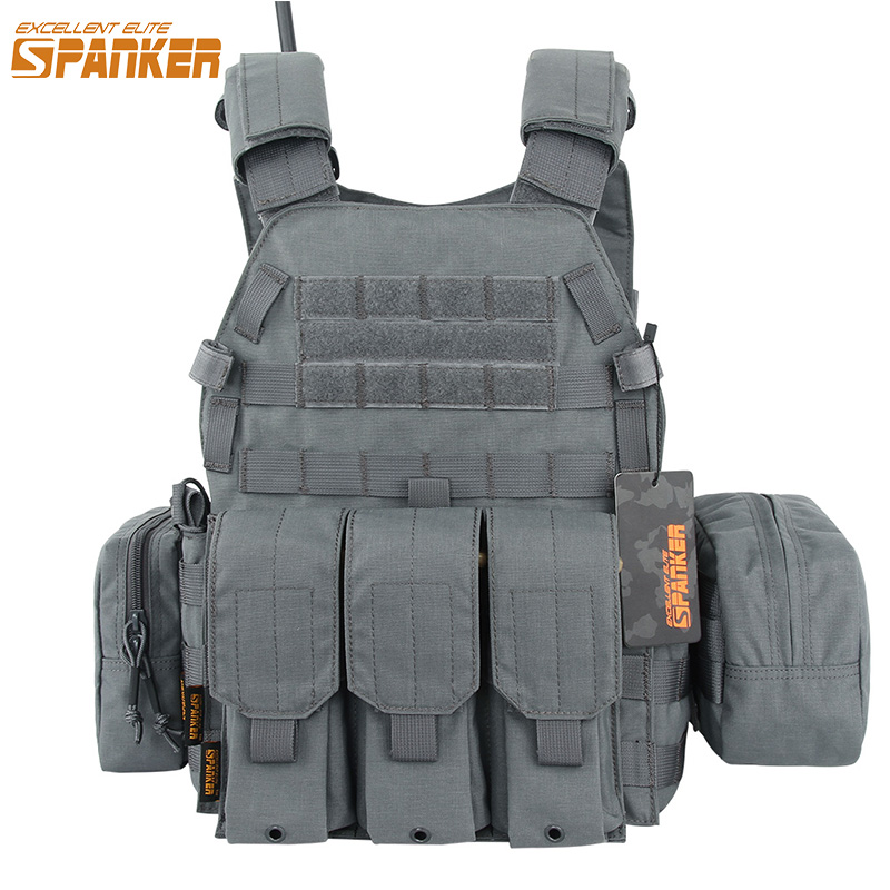 EXCELLENT ELITE SPANKER Tactical Nylon 6094 Hunting Vest Set Camouflage Outdoor Army Military Assault Training Molle Vest Suits цена 2017