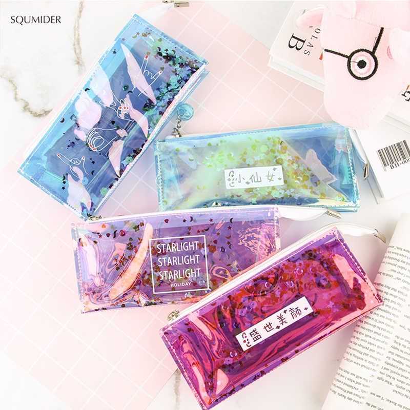 Creative Kawaii Transparent Laser Pencil Case Cute Colored Pencil Bag High Quality Stationery Pouch Office School Supplies