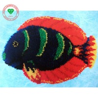 Free Shipping DIY Mat Needlework Kit Unfinished Crocheting Rug Yarn Cushion Embroidery Carpet Latch hook rug kits Beautiful Fish