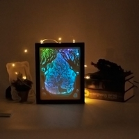 Papercut Light Box LED USB Night Light Lamp Creative Paintings Deer L22