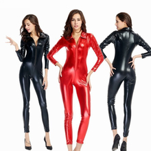 Hot Sexy Black Catwomen Jumpsuit Night club steel dance service Catsuit Costumes for Women Body Suits Fetish Leather Dress