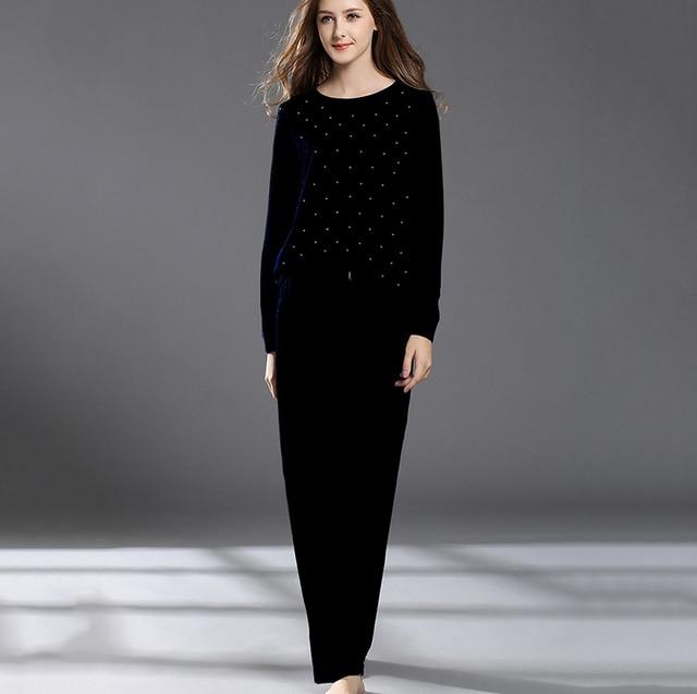 Winter velvet pajamas women black rhinestone tops+long pants home suit  comfortable pajama female e9db16387