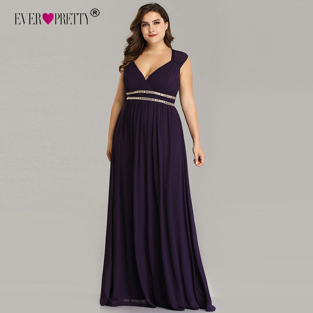 Ever Pretty Plus Size Formal Evening Dresses Long Women Elegant Burgundy V Neck Chiffon Empire Party Gown Robe De Soiree EP08697 10