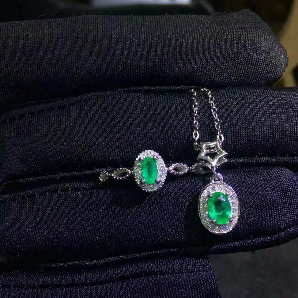 SHILOVEM 925 sterling silver Natural Emerald rings pendants send necklace fine Jewelry wedding women gift new 3*5mm jctz0305agmlSHILOVEM 925 sterling silver Natural Emerald rings pendants send necklace fine Jewelry wedding women gift new 3*5mm jctz0305agml