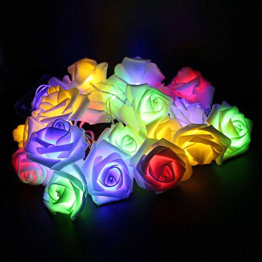 Rose Flower Led String Fairy Light Multicolor Battery Powered 2M 20 LED Fashion Holiday Lighting Wedding Party Xmas Decoration