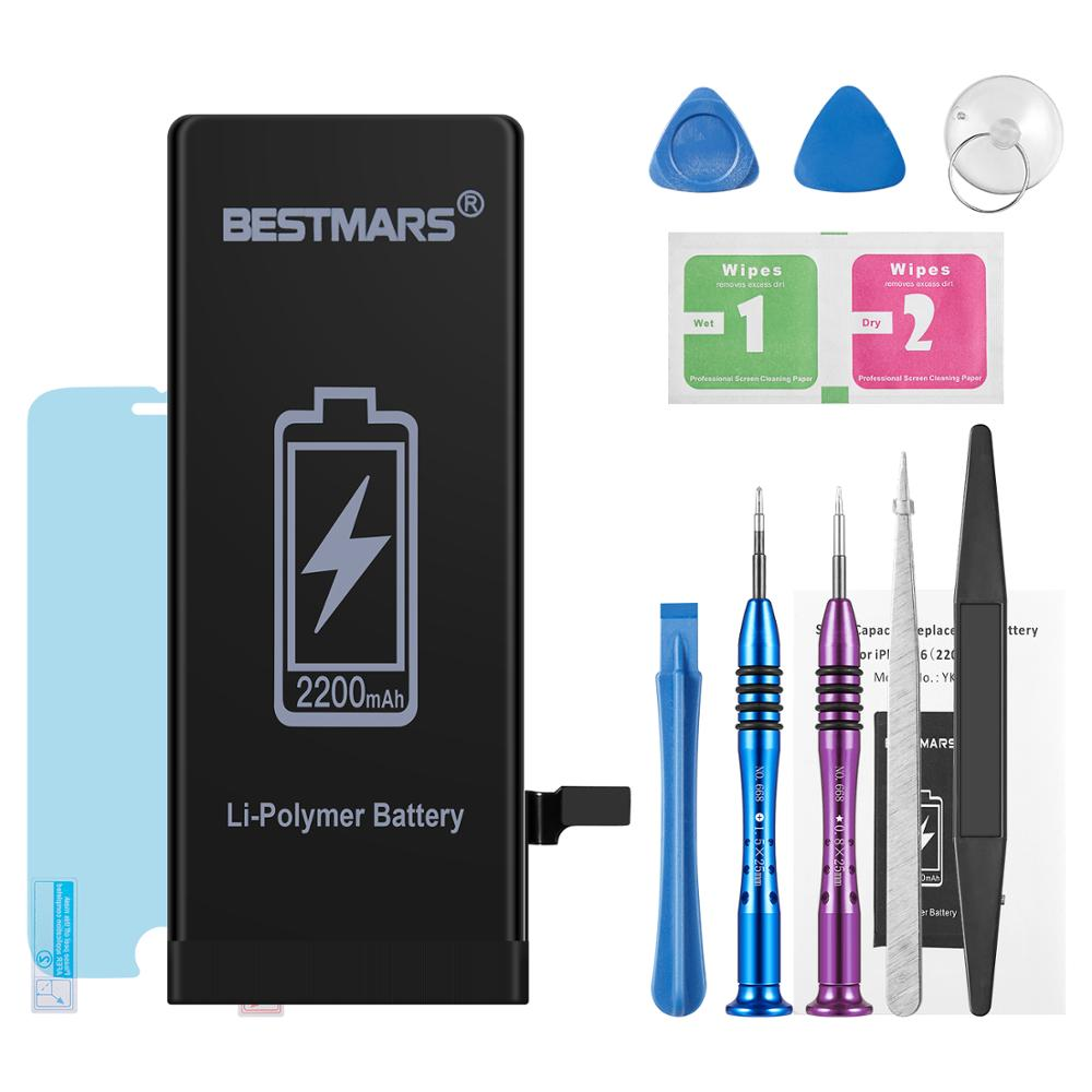BESTMARS Lithium Battery For Apple iPhone 6G Replacement Battery Batteries  2200mAh + Free Tools + Nano explosion-proof film(China)
