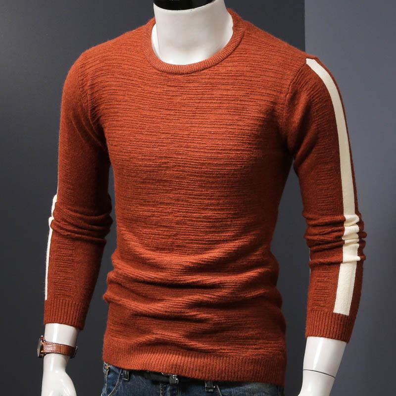 Мужской зимний свитер вязаный пуловер Свитера Осень и весна тонкие мужские топы tide man Одежда - Цвет: coffee