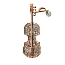 2019 New  Dynamic Creative Exquisite Simple Violin Brooch Jewelry Factory Direct Wholesale