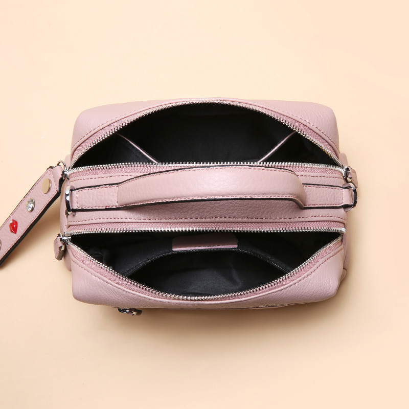 Image 5 - Zency 100% Real Cowhide Leather Fashion Lady Crossbody Bag High Quality Tote Handbag Pillow Shoulder Bags Grey Pink Red Black-in Top-Handle Bags from Luggage & Bags