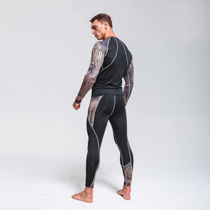 Мужская спортивная одежда костюм компрессионная одежда Спорт термобелье фитнес Быстрый-быстросохнущие колготки MMA Rashgard комплект лыжного нижнего белья