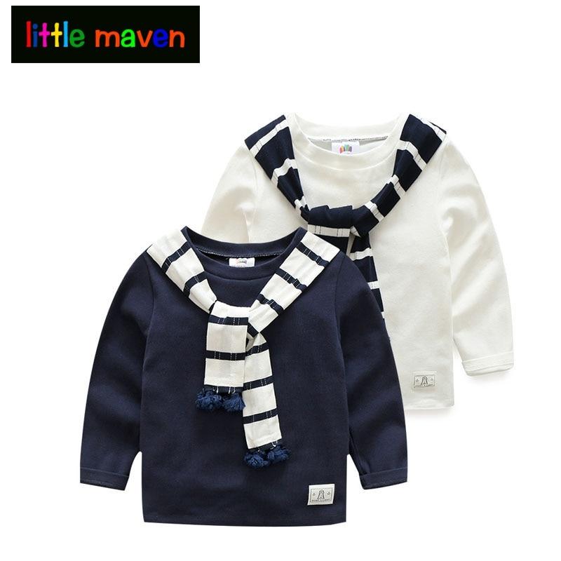 Gyerek gyerek póló 2017 Tavaszi őszi Euro-preppy ruházat Fiúk Gyerekek Casual, hosszú ujjú Hűvös csíkos sál gallér ing