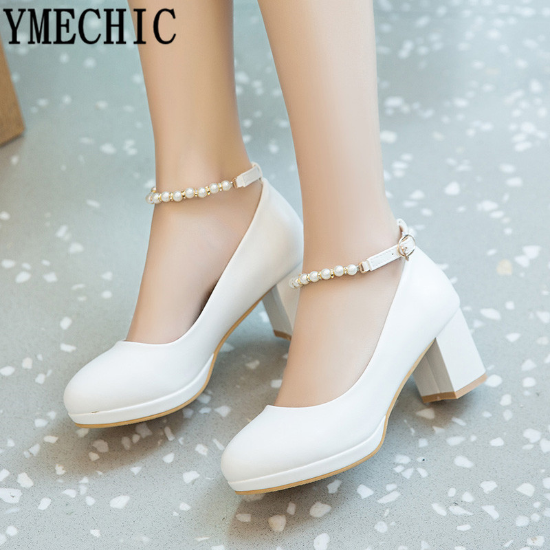 YMECHIC 2019 Fashion White Ankle Strap String Bead Mary Janes Wedding Shoes Woman Office Career Ladies Block Heel Shoe Plus SizeWomens Pumps   -