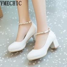 YMECHIC 2019 mode blanc bride à la cheville chaîne perle Mary Janes chaussures de mariage femme bureau carrière dames bloc talon chaussure grande taille