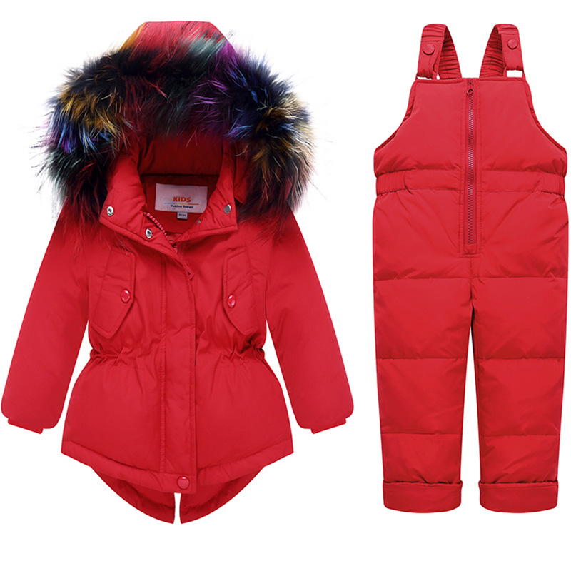 acdc70b2e771 2018 Baby Girl Winter Clothes Sets Hooded Kids Down Jacket Overalls ...