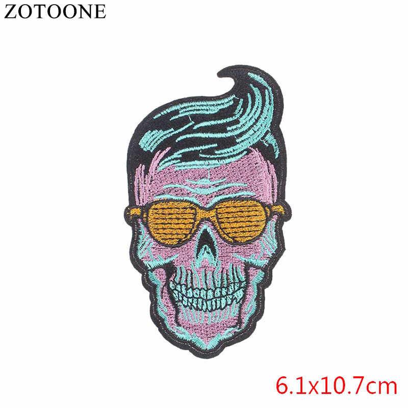 1 шт. сборная Продажа панк-рок вышивка крутая нашивка череп и розовое железо на бесплатные мотоциклетные байкерские нашивки для наклейки для одежды DIY