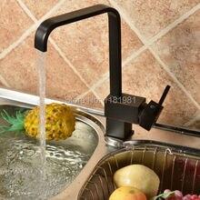 Черный квадрат Латунь Поворотный Кухонные Мойки Кран 360 градусов вращающийся Кухонный Смеситель A4178