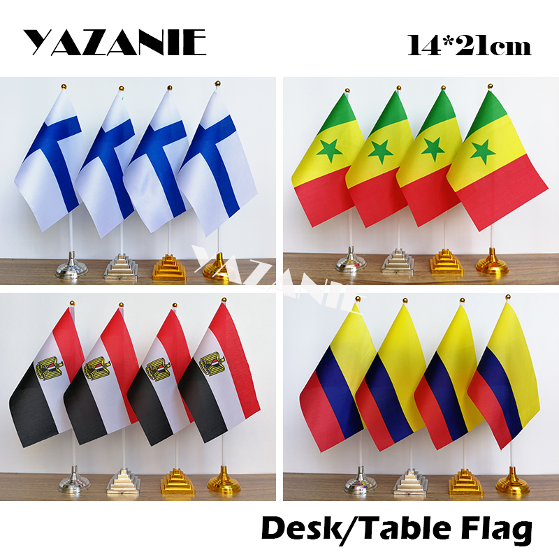 """Mexico Miniature Fabric Hand Held Table Top Desk Flag Polyester 4/"""" x 6/"""""""