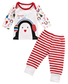 2pcs New Christmas Baby Boy Girl Clothes Long Sleeve Animal Deer Tops+Pants Baby Christmas Costumes Sleepwear Nightwear Pajamas