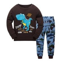 Купить с кэшбэком 3-8 years children christmas dinosaur pajamas sets kids sleepwear boys girls stripes pyjamas baby santa pijamas
