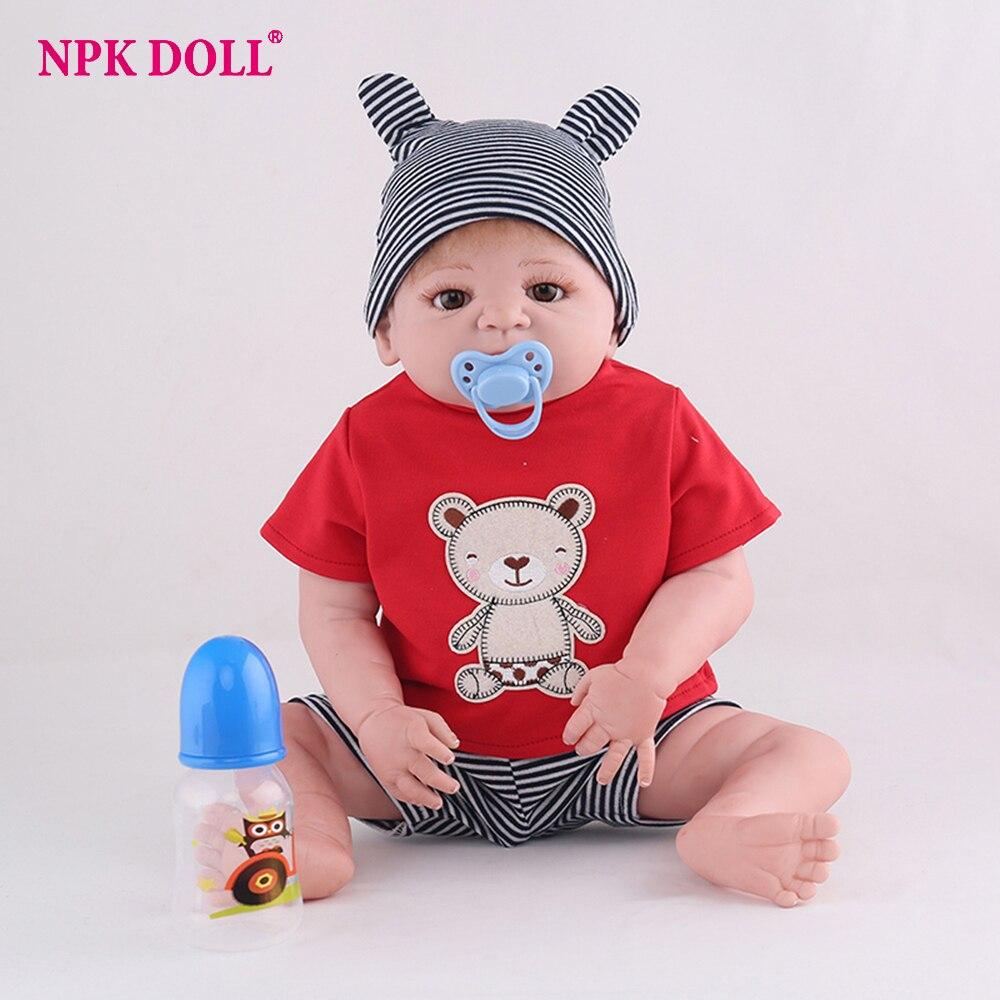 цены NPKDOLL 55cm Soft Silicone complete Reborn Dolls Baby Realistic Doll Reborn 22 Inch Full Vinyl Boneca BeBe Reborn Doll For Girls