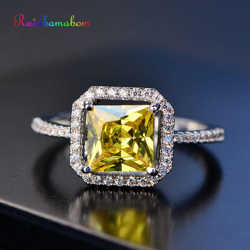 Rainbamabom 925 Sterling Silver Yellow Topaz Gemstone Wedding Engagement Cocktaill Anniversary Ring Women Jewelry Wholesale