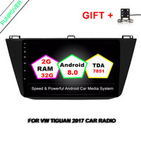 Funrover 2GB RAM QuadCore 10.1 Android8.0 2 din Car DVD Player for VW Volkswagen Tiguan 2016 18 Radio GPS WIFI Bluetooth NO DVD