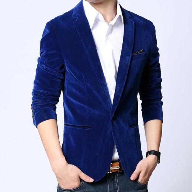 HOT SALE Mens blazers 2017 slim fit chaqueta de terciopelo de algodón masculina primavera y otoño negro azul muesca solapa capa ocasional Envío gratis