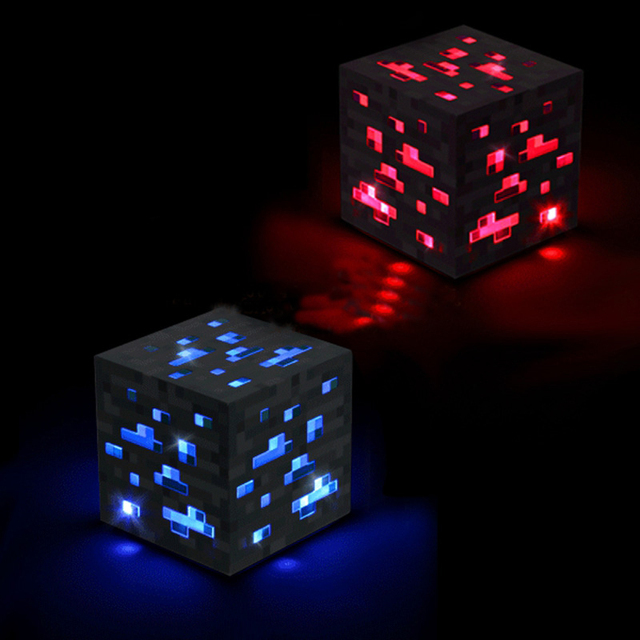 Minecraft Light Up Redstone Ore Blue Stone Diamond Square Night Light Touch  LED Lamp Minecraft Toys
