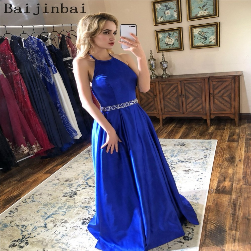 6011ae81c0 Sexy Prom Dresses Long 2018 Halter evening dress Luxury Floral Beaded Prom  Gown for Women