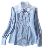 100% real silk women Shirt Quality Casual shirt full sleeve Bow Ribbon office lady blouse Spring summer Silk Pink Blue Cloths