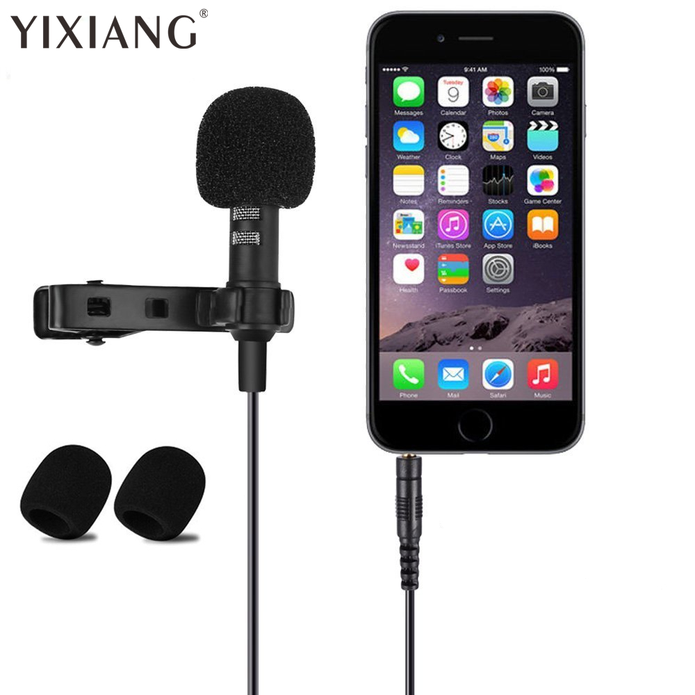 Clip-on Collar Tie Mobile Phone Lavalier Microphone Mic for iOS Android Cell Phone Laptop Tablet Recording Pen Laptop PU Pouch