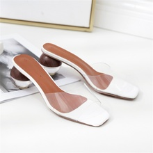 Summer Fashion Womens Slippers Transparent Material Round High Heel Sandals Sexy Open Toe Women Shoes