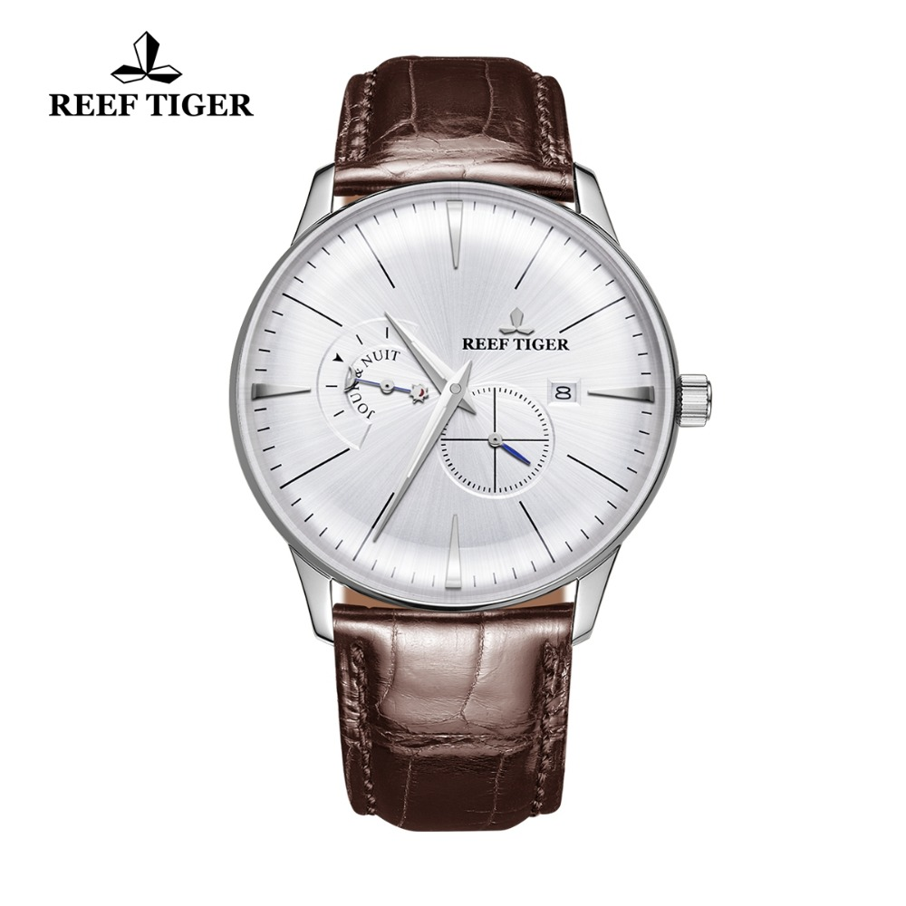 Reef Tiger Luxury Mens Dress Watches Stainless Steel Leather Watch Strap Automatic Watches Relogio Masculino RGA8219 стоимость