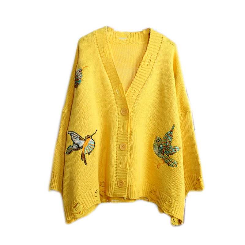 Brieuces Spring and Autumn new woman loose knit cardigan female short hole embroidery sweater coat