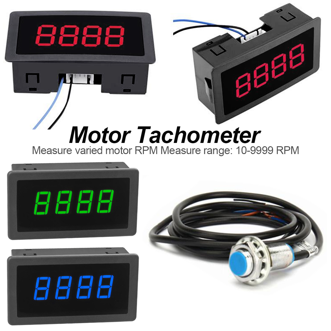 LED 4 Digital Blue Green Red Measuring Gauges Tachometer RPM Speed Meter + DC 8-15V 10-9999RPM Hall Proximity Switch Sensor NPN