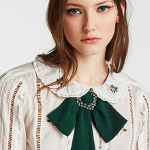 BK Multi Color Fashion Woman Brooches Ribbon Big Bowknot Brooch Pin Rhinestones crystal Collar Shirts Accessories Jewelry
