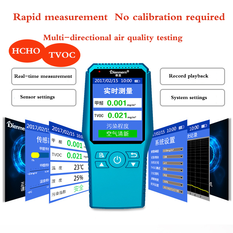 Handheld English menu electrochemical formaldehyde detector, home HCHO TVOC testing instrument, indoor air quality detector free shipping indoor home formaldehyde gas air quality detector