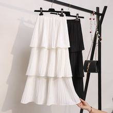 цена на Women Cake Skirt 2019 New Sweet Fresh Solid Color Layers Frill Pleated Skirt Female High Waist Long Chiffon Skirt White G153