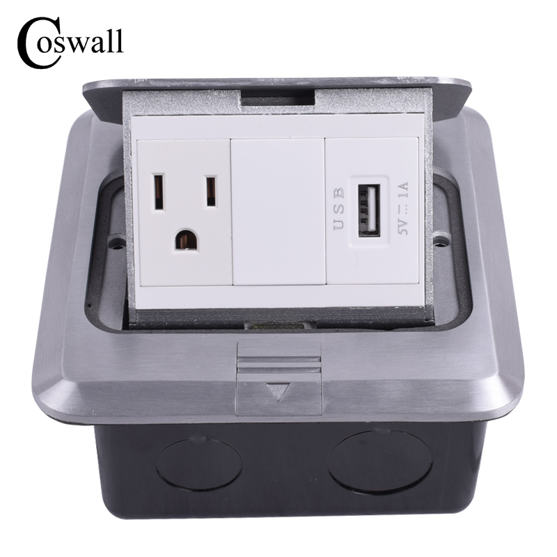 Coswall All Aluminum Silver Panel Pop Up Floor Socket US Standard Power Outlet With USB Charging Port 1000mA For Mobile manufacturer all aluminum panel eu standard pop up floor socket single power outlet dual usb port page 2