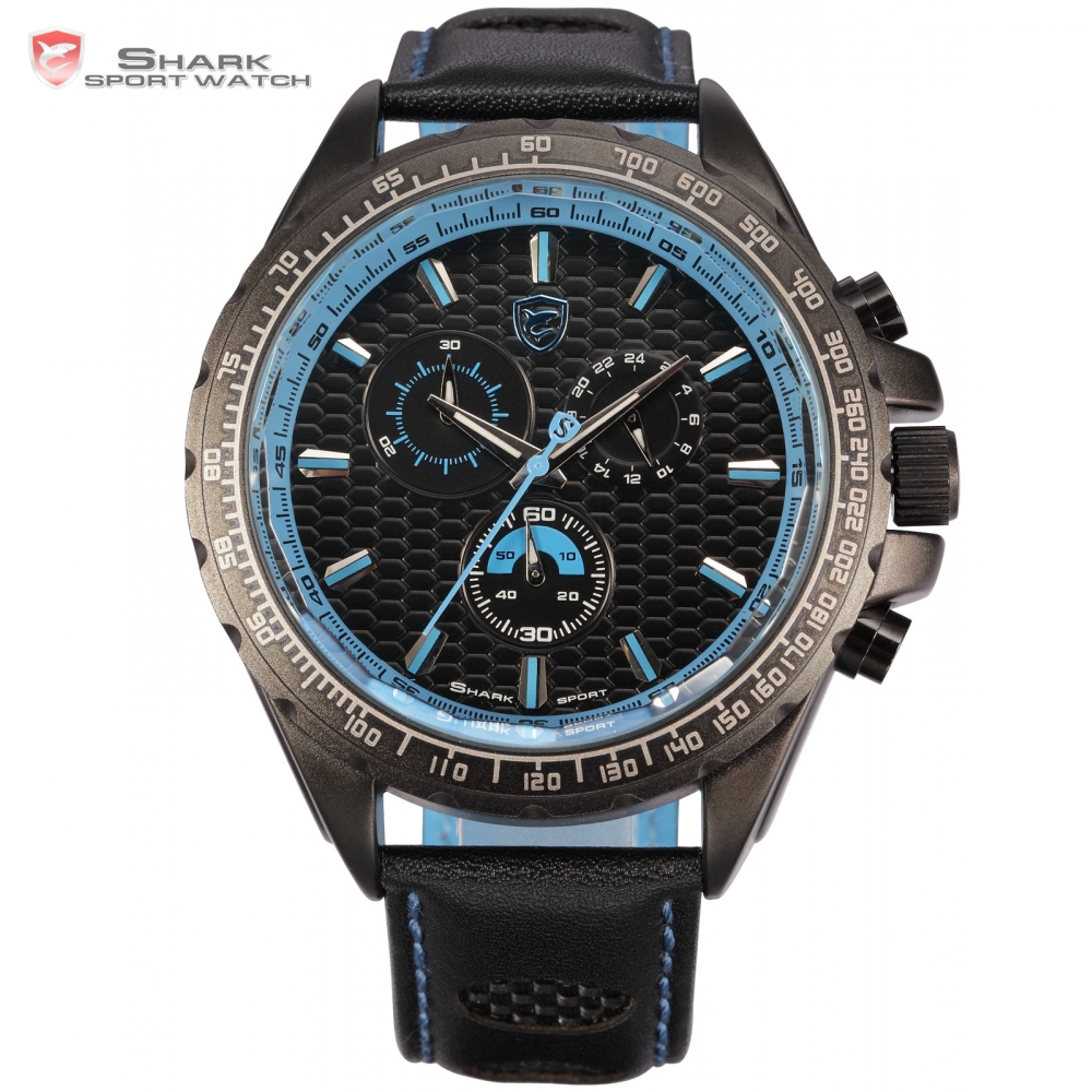 Frilled Shark Sport Watch Male 3 Dial Black Blue Chronograph Cool Japan Quartz Movt Leather Bracelet Wrap Men Wristwatch /SH194 frilled shark sport watch relogio black chronograph stopwatch 3 dial leather strap clock quartz military men wrist watch sh225