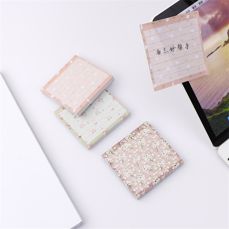 Flower Animal Series Paper Sticker Memo Pads Sticky Notes Notepad Stationery Office Accessories School Supplies Random Color