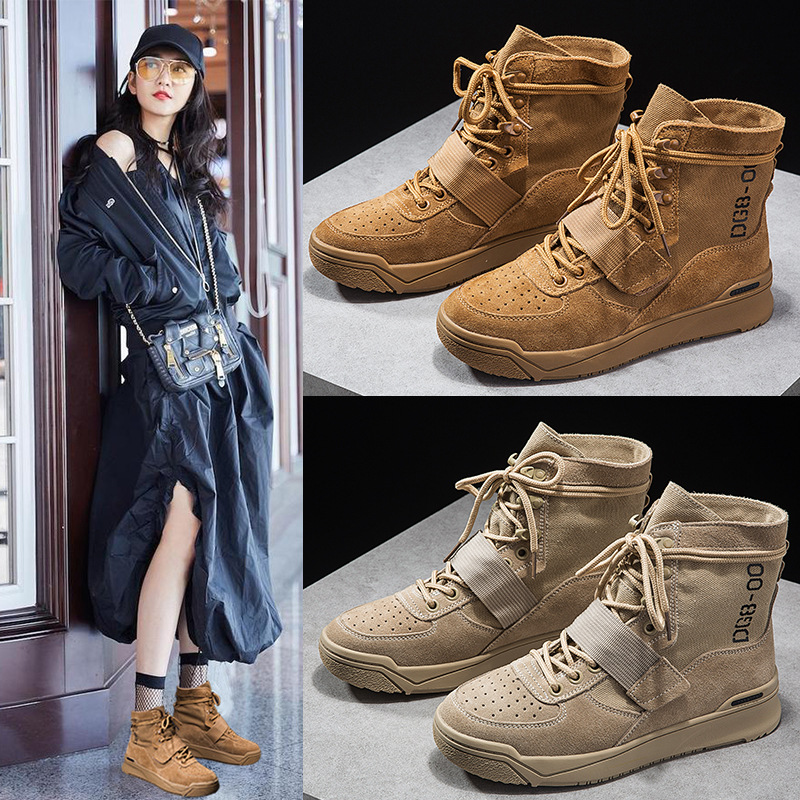 2018 Leather Martin Women's Boots British Style New Desert Boots Wild Round Flat Autumn Winter Women Motorcycle Boots