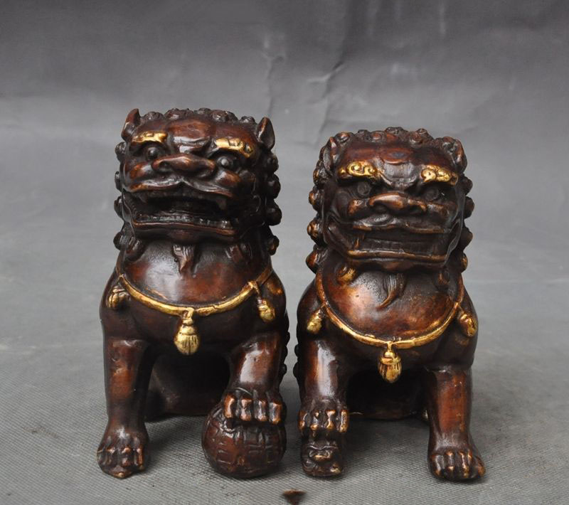 Crafts statue China bronze fengshui foo dog lion beast Guardian door Ward off evil statue pair