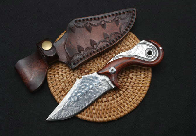 Trskt 60Hrc Damascus knife Collection Camping Knives Hunting Outdoor knife Edc Tool Color wood Handle With Leather Sheath trskt damascus blade collection knife wood handle folding knife camping hunting knives rescue outdoor edc tool dropshipping
