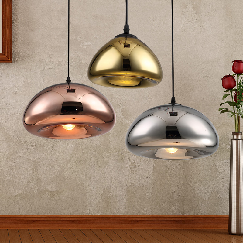 Led Pendant Lamps Copper Glass Shade Pendant Light Modern