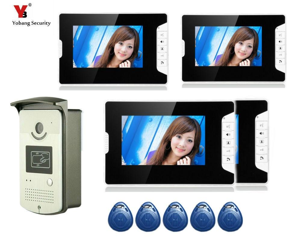 Yobang Security 7 LCD Screen Recorder Video Intercom Door Phone Kit Waterproof RFID Keypad Doorbell Camera 4 Monitors