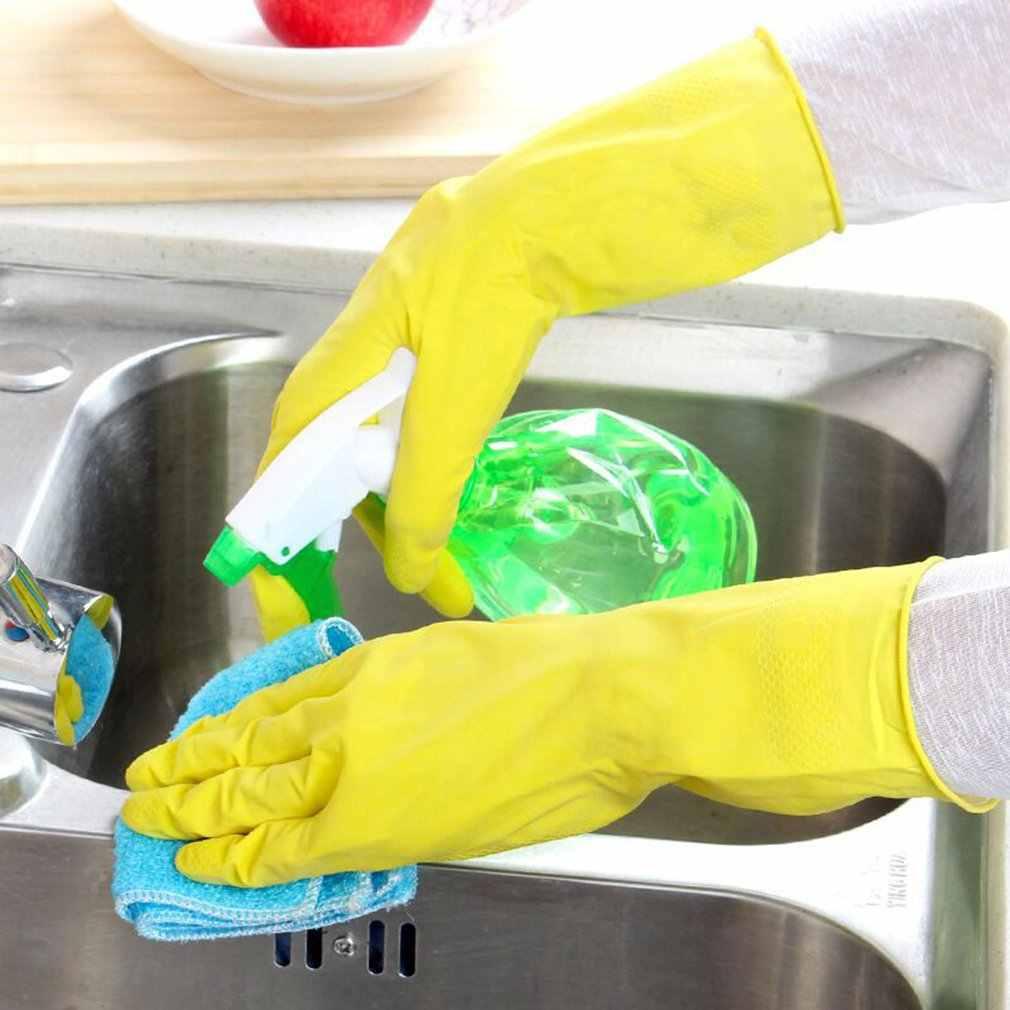 Langarm Küche Gleitschutz Wasserdichte Haushalt Handschuh Warme Geschirr Handschuh Wasser Staub Stop Reinigung Latex Gummi Handschuhe