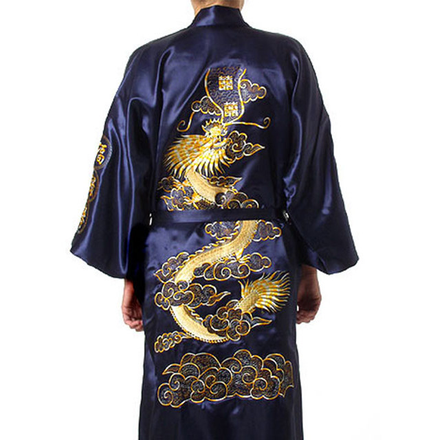 7c89682cf1 Traditional Embroidery Dragon Kimono Yukata Bath Gown Navy Blue Chinese Men  Silk Satin Robe Casual Male